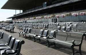 Reserved apron seating at Belmont Park.