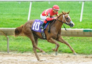 Our Tiny Dancer breaks her maiden at Delaware Park on 9/9/21. Hoofprints, Inc. photo.